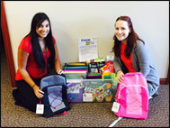 Mukti Cassiday and Lia DeGerolami with backpacks